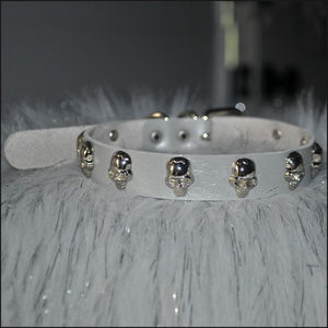 Silver Skull Studded Leather Choker